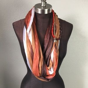 Accessories - Striped Beaded Brown Rustic Orange Infinity Scarf